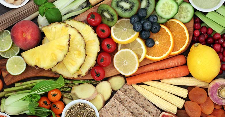 Fruits and vegetables shown in this image are a great sources of pro-biotics and as such are a great natural treatment of arthritis