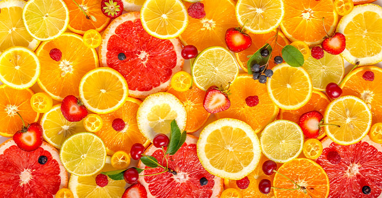 Citrus fruit, cherries and berries make for colorful foods rich in collagen